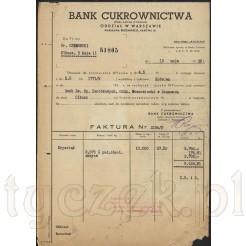 Zabytkowy druk firmowy - rachunek z banku cukrownictwa