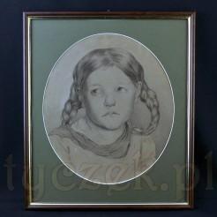 Pełen uroku liryczny portret dziewczynki z warkoczami wykonany ołówkiem.