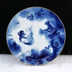 Biało niebieski talerz MISNIA Meissen z 1984 roku