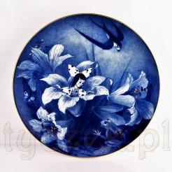 Kobaltowo biały baśniowy talerz wiszący MEISSEN