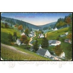 Malownicza panorama Gór Stołowych z widokiem na zabudowę wiejską i Czarną Wodę