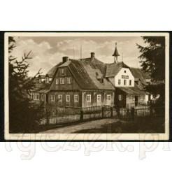 Wittighaus- znane schronisko w górach Izerskich na pamiątkowej pocztówce