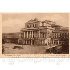 Okazały gmach Teatru Wielkiego w Warszawie uwieczniony na dawnej pocztówce