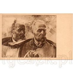Głowy dwóch mężczyzn w sędziwym wieku pełnych zadumy i nostalgii