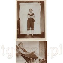 Dwie fotografie prezentujące damską modę plażową