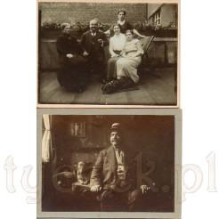 Komplet dwóch fotografii na których widoczny jest mężczyzna z wąsem i piesek