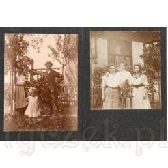 Dwie pamiątkowe fotografie w ogrodzie