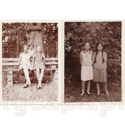 Dwie pamiątkowe fotografie ukazujące młode dziewczęta w sukienkach uczesane w dwa warkocze