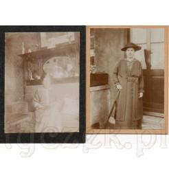Dwie fotografie przedstawiające kobietę na kanapie oraz panią wychodzącą na spacer