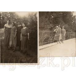 Komplet dwóch fotografii na których ujęte zostały kobiety podczas spaceru
