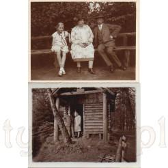 Odpoczynek na drewnianej ławce oraz zdjęcie w leśnym domku w Braunfels na dawnych zdjęciach
