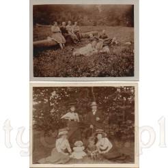 Rodzinny odpoczynek na leśnej polanie na dawnych fotografiach