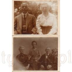 Dwie pamiątkowe fotografie na kartonikach przedstawiające starszych ludzi