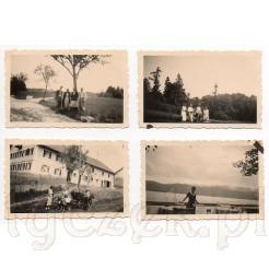Komplet czterech czarno białych fotografii w plenerze z 1934 r.