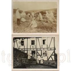 Czas żniw na wsi oraz budynek w ludowym stylu zdobiony murem pruskim na dwóch fotografiach
