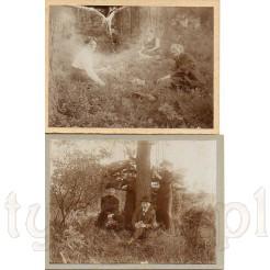 Zestaw dwóch pamiątkowych fotografii w plenerze