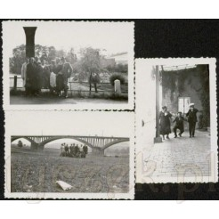 Komplet trzech fotografii w plenerze z 1937 roku