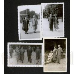 Zestaw czterech zdjęć prezentujących modę damską i męską z 1936 roku