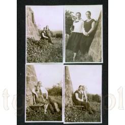 Cztery zdjęcia wykonane w 1932 przedstawiające rodzinę w plenerze