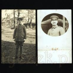 Mężczyzna w mundurze z obfitym wąsem skierowanym ku górze na dwóch pocztówkach