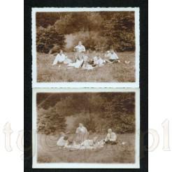 Komplet dwóch zdjęć z rodzinnego pikniku z 1931 roku