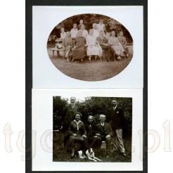 Dwa czarno białe zdjęcia przedstawiające rodziny na ławce