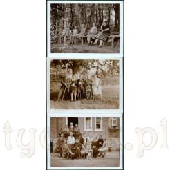 Komplet trzech czarno białych rodzinnych fotografii