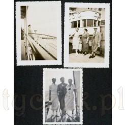 Komplet trzech czarno białych zdjęć m.in. z rejsu statkiem