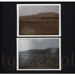 Naturalny krajobraz uwieczniony na dwóch czarno białych fotografiach