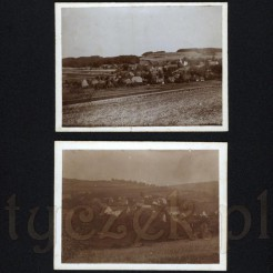 Malowniczy krajobraz z wiejską zabudową na dwóch dawnych fotografiach