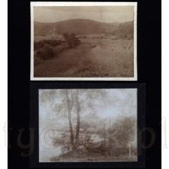 Naturalny pejzaż uchwycony na dwóch czarno białych zdjęciach