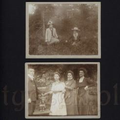 Dawne stroje z obszernymi kapeluszami na dwóch czarno białych zdjęciach