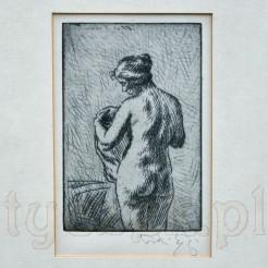Akt kobiecy w subtelnym ujęciu – grafika suchoryt – I połowa XX wieku