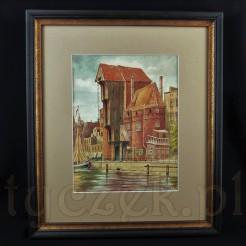 Obraz wykonany w technice akwareli z widokiem na Bramę Żuraw w Gdańsku.