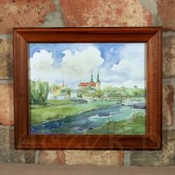 Obraz ujęto w drewnianą, ryflowaną ramkę listwową.