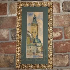 Wertykalna kompozycja malowana akwarelą z widokiem na katedrę we Lwowie.