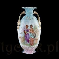 Zabytkowy wazon z porcelany w ciekawej, secesyjnej formie.