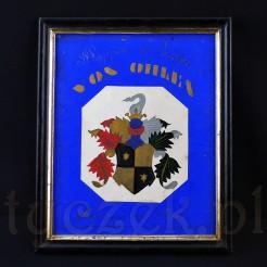 XIX wieczny herb pomorskiej rodziny von Ohlen.