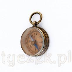 Niewielki kompas zabytkowy w mosiężnej obudowie ze szkłem