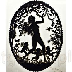 Ażurowy obrazek z widokiem na bogatą w ornamentalne detale, pełną uroku scenkę.