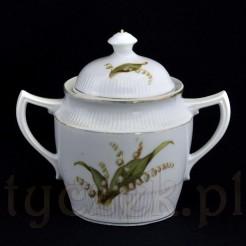 Antyczna cukiernica z białej porcelany zdobionej konwaliami