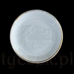 Niewielki talerzyk reklamowy z białej porcelany z tłoczonym napisem