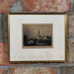 Widok dawnego Breslau na zabytkowym stalorycie z ok 1850 roku.
