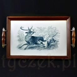 Taca zabytkowa z myśliwskim motywem psa i jelenia