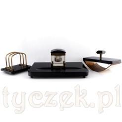 Zabytkowy zestaw biurkowy: kałamarz, bibularz i listownik