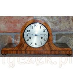 Art deco zegar kominkowy -fornir orzech w politurze szelakowej