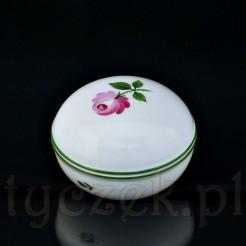 Śnieżnobiała porcelanowa szkatułka z różą i zieloną lamówką