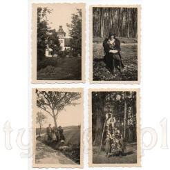 Komplet czterech zdjęć przedstawiających dawne sanatorium, oraz wolne chwile podczas spacerów i wycieczek