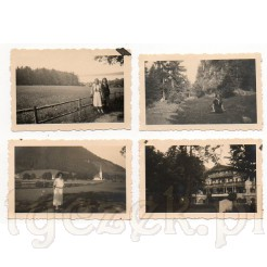 Wakacyjne ujęcia na dawnych, czarno białych zdjęciach