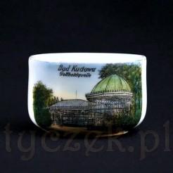 Kolekcjonerska filiżanki ze zdobionej porcelany z widokiem dawnej Kudowy